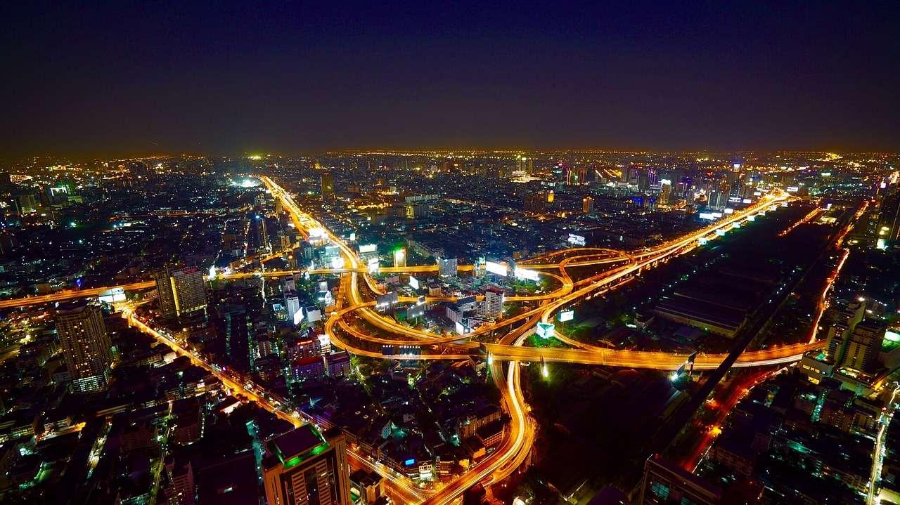Бангкок Город Ночь Трафик