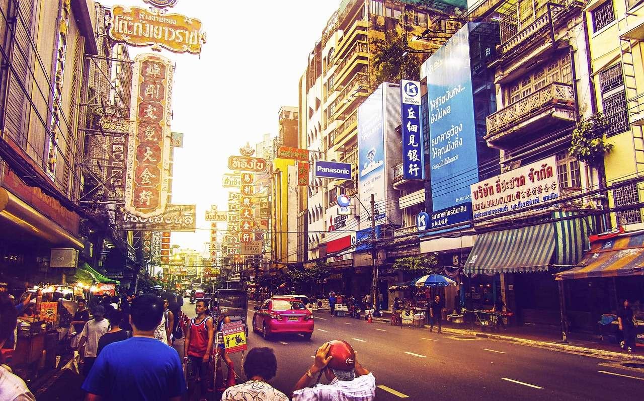 Бангкок Улица Таиланд Путешествия Азиатских Город