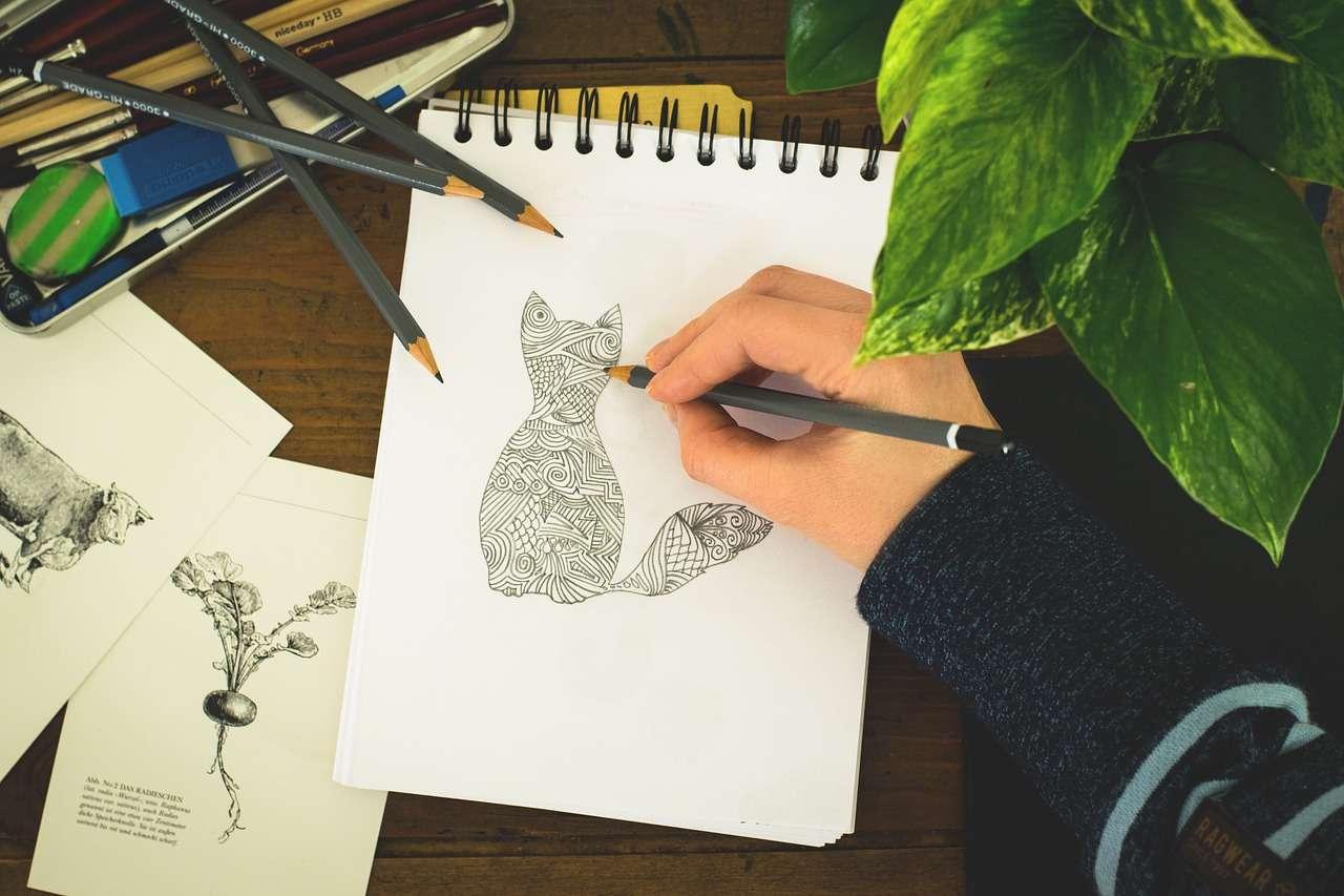 рисованный кот